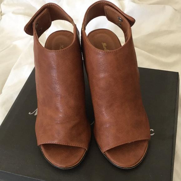 Shoes | Cognac Peep Toe Bootie | Poshmark